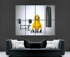 MINIONS POSTER WEIGHTLIFTING MUSCLES COMIC TV MOVIE ART PICTURE PRINT LARGE