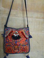 OLD RABARI HAND EMBROIDERY MIRROR BANJARA TRIBAL RARE SHOULDER ETHNIC KUCHI BAG