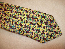 Peter Millar 100% Silk Brown and Yellow Paisley Tie NWT $115 Made in Italy