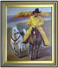 Framed Quality Hand Painted Oil Painting Portrait of a Cowboy 20x24in