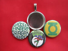 Green Lantern  Handmade changeable Magnetic Multicolor Pendant w Black  Necklace