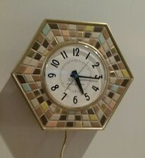 GENERAL ELECTRIC MID-CENTURY MODERN ELECTRIC WALL CLOCK MODEL WITH MOSAIC TILE