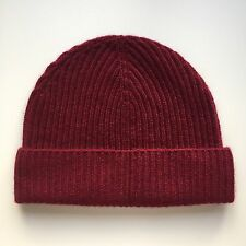 100% Pure Cashmere Light Claret / Maroon Ribbed Beanie Hat Fisherman Knit BNWT