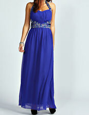 NEW BLUE Maxi Dress Gatsby Dress Embellished Bridesmaid Party Gown SIZE 20