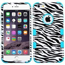"""New Tuff HYBRID Hard Case Cover Zebra / Teal For Apple iPhone 6 PLUS 5.5"""" inch"""