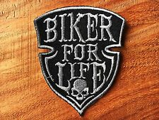 New BIKER FOR LIFE Sew Iron On Patch Embroidered Choppers Outlaw 1% Vest Jacket
