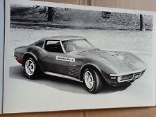 """12 By 18"""" Black & White PICTURE 1972 Corvette Stingray"""