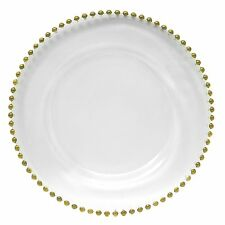 13` Gold Beaded Glass Charger Plate by Astor SET OF 4