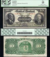 NICE *SCARCE* 1923 $10 Bank of Montreal CANADA Note! PCGS 15! FREE SHIP! 1532558