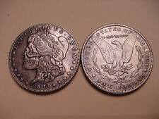 Hobo Style 1893 Morgan Dollar Eagle Back Silver Plated Clad Toned Skull Coin