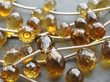 14 X Lado Facetado Cognac Cuarzo diamantes que, 6x8mm - 8x12mm Beads