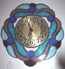 Vintage Blue & Pink Stained Glass Takane Wall Clock