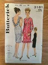 Vintage 1960's Butterick #3181 Dress Sewing Pattern Size 12, Bust 32""