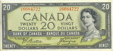 Bank of Canada 1954 $20 Twenty Dollars Devil's Face Portrait D/E Good VF+