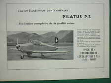 2/1959 PUB PILATUS P.3 AVION ECOLE SWISS AIRCRAFT FLUGZEUG ORIGINAL ADVERT
