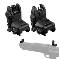 2 PCS Black Tactical Folding Front & Rear Flip Up Sight Sights 20mm Weaver Rail