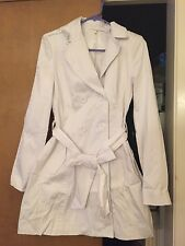 2B Bebe White Cotton Blend Trench Coat XS