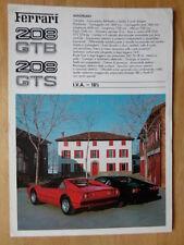FERRARI 208 GTB e GTS ORIG 1981 grande formato di vendita VOLANTINO BROCHURE - # 207/81