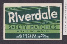 Ancienne étiquette  Allumettes Finlande  BN12740 Riverdale