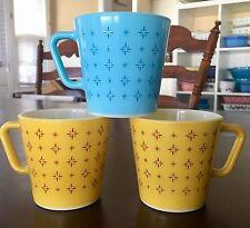 Vintage Pyrex Foulard 1410 Mugs Set Of Three! Blue & Yellow Rare HTF