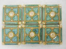 DOGWOOD MOSAIC TILE Handmade Ceramic Grouted Decorative Mint Green  Set of 6