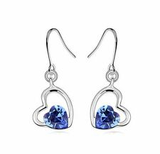 Beautiful Crystal Royal Blue & Rhinestones Hearts Drop Dangle Earrings E512