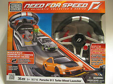 MEGA BLOKs 36pc SET 95716 Need for Speed Porsche 911 Turbo Wheel Launcher sounds