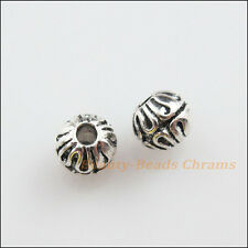 20Pcs Tibetan Silver Flower Round Ball Spacer Beads Charms 6mm
