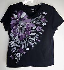 Womens Kim Rodgers Black w/ Purple & Gray Florals Bling Tee Shirt  Top Blouse L