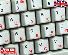 Russian English White Keyboard Stickers with Red Letters For Laptop Computer PC