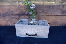 Gray & Aqua Weathered Window Box w Handle Hanging PLANTER Wedding Garden Rustic