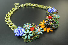 Unique chunky or coloré floral collier bold bright pierres déclaration (CL17)