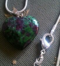Ruby in Zoisite Crystal Healing Heart pendant 925 necklace.UK SELLER.MOTHERS DAY