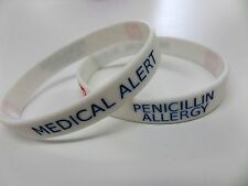 PENICILLIN ALLERGY Medical Alert Wristband Silicone bracelet rubber NEW