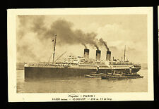 SS Paris Guided by Tug Boats Postcard - French Line