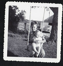 Antique Vintage Photograph Young Boy Holding Cute Baby on Swing
