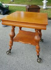 Old English Farm Country Style Solid Tiger Oak Table With Glass Ball and Claw