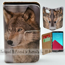Wallet Phone Case Flip Cover ONLY for LG G4 - Snow Grey Wolf  Portrait