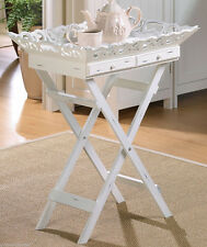 NEW WHITE WOOD TV FOOD TRAY STAND,TABLE,BATH,HOME DECOR