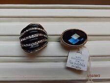 2 LIA SOPHIA RINGS Kiam Black Rhinestone sz 8 & Blue Rhinestone NWT sz 7