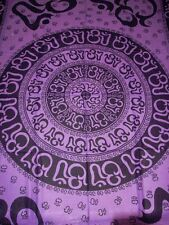 OM Aum YOGA Indian CHAKRA Purple HIPPIE Boho India Wall Hang TAPESTRY Bedspread