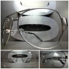 Men's CLASSIC VINTAGE AVIATOR Style Clear Lens EYE GLASSES Silver Fashion Frame