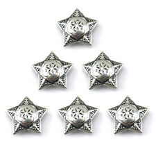 "CONCHOS LOT OF 6 PCS WINDROSE STAR RANGER ANTIQUE SILVER LEATHER CRAFT 1"" NEW"