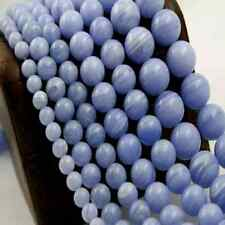 "12mm Round Blue Agate Stone Beads 15"" Inch Strand (1) - B018"