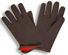 G & F 4414 Brown Jersey Gloves with Red Fleece Lined, Large, 12 Pairs