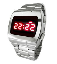 BRAND NEW! LED WATCH 70s UNISEX SS STYLE CHROME RETRO RED FACE SILVER DIGITAL