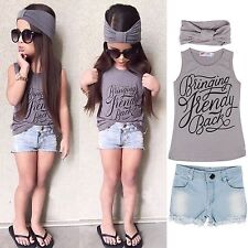 3pcs Toddler Baby Girl Outfits Headband+Top T-shirt+Jeans Pants Clothes Set NEW