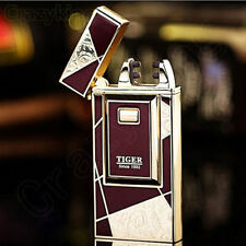 TIGER Carving Burgundy Electric Double Arc Cigarette USB Lighter Rechargeable