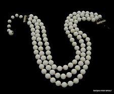 X blanc perles de verre collier avec strass fermeture