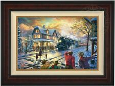 "Thomas Kinkade All Aboard for Christmas 18"" x 27"" LE G/P Canvas (Burl Frame)"